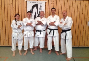 von links nach rechts: Sabrina Lubik, Steve Mirke, Sensei McCarthy, Hendrik Felber, Olaf Krey